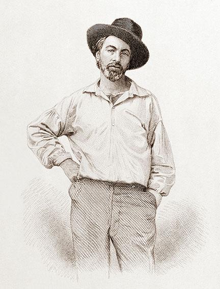 Volt Vitman, crtež, portret, gravura, mlad muškarac, Semjuel Holijer