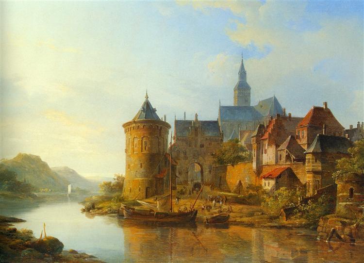 Cornelis Springer, Pogled na grad uz Rajnu, grad na reci